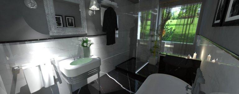 un bagno con pavimento in marmo di color nero e dei muri di color bianco