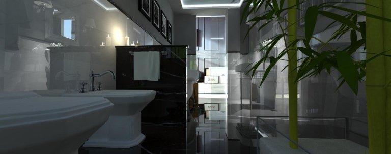 un bagno con pavimenti in marmo lucido