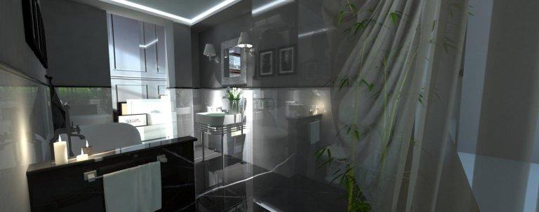 un bagno con pavimenti in marmo e un pianta di bambù'
