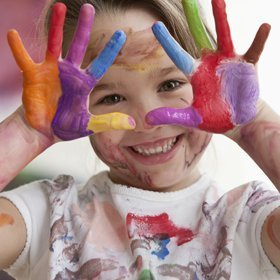 child's hands coloured