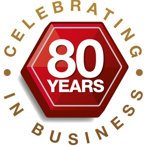 80 years in business logo