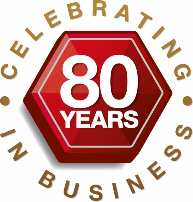 Celebrating 80 years in business logo