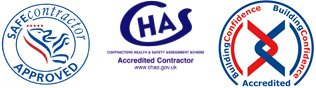 Safe contractor, CHAS and Building Confidence logos