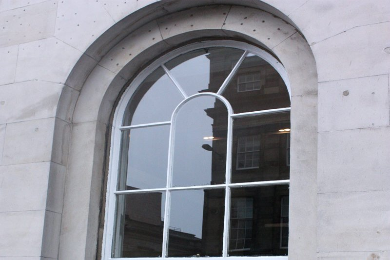 closeup through a window of the repairs completed