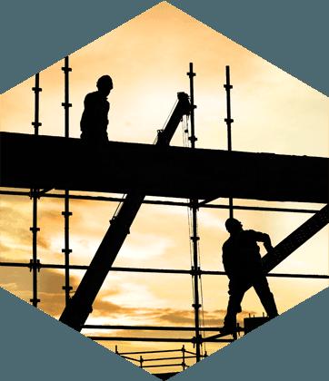 Builders on scaffolding