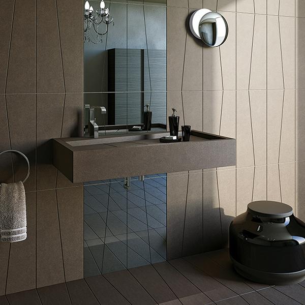 un lavabo con sopra uno specchio in un bagno moderno