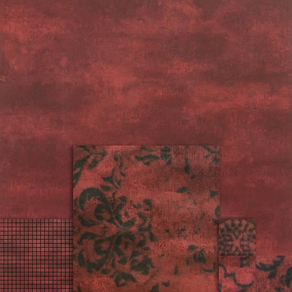 un muro rosso a sfumature nere con dei disegni