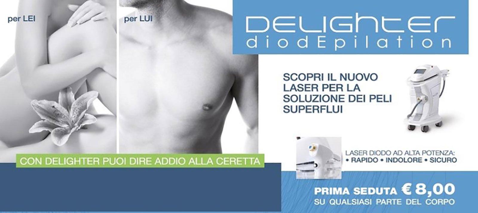 un volantino che pubblicizza Delighter diodepilation e accanto le immagini dei corpi di un uomo e una donna in bianco e nero