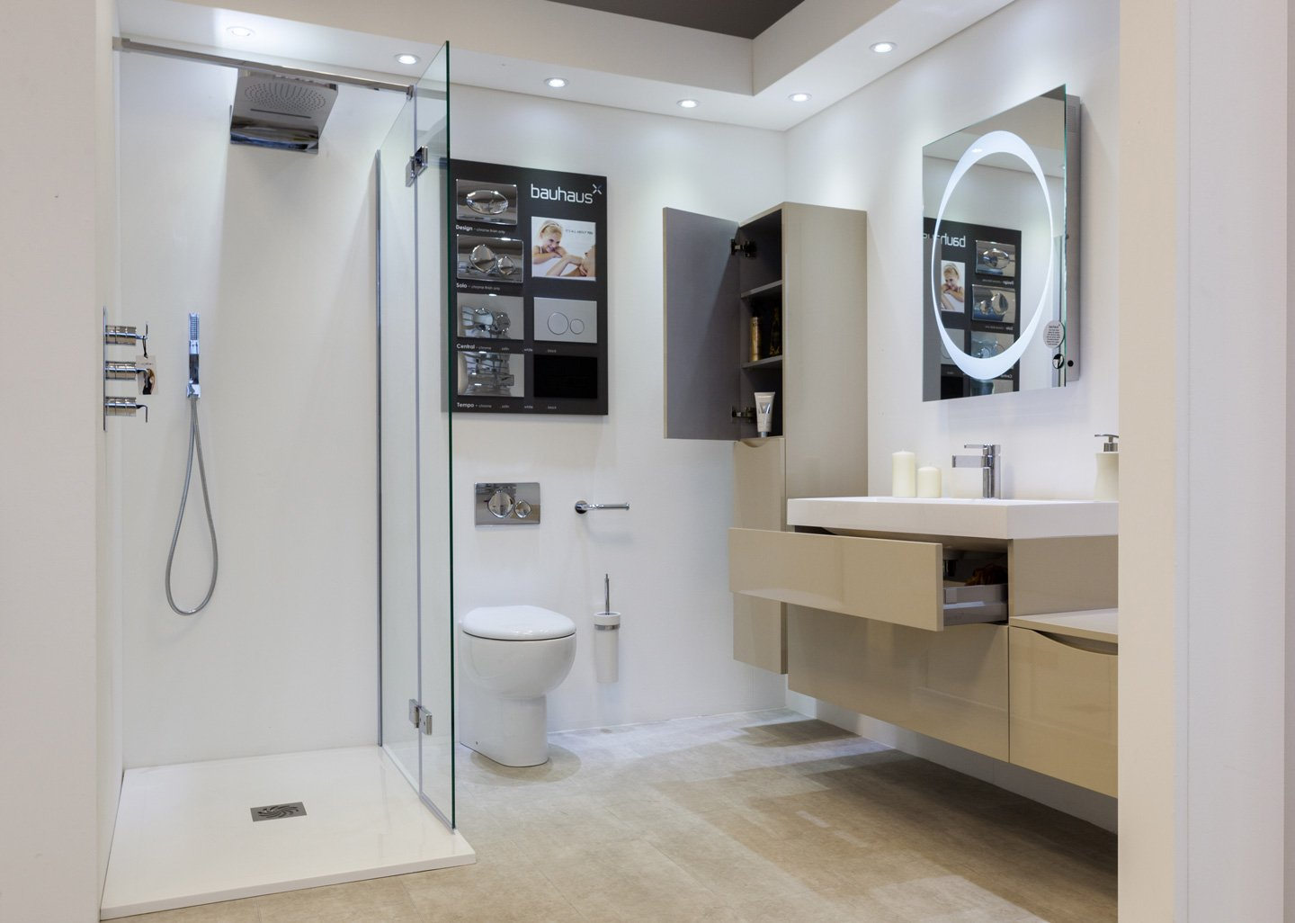 Quality bathroom shower with accessories installed