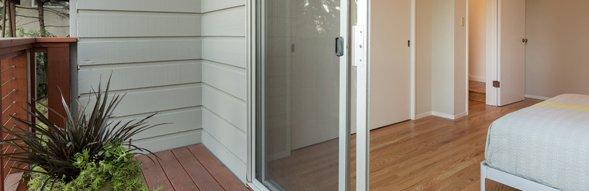 Composite door leading to patio