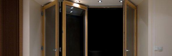 Bi-fold door under spotlights