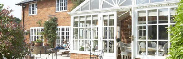 Victorian-style white conservatory