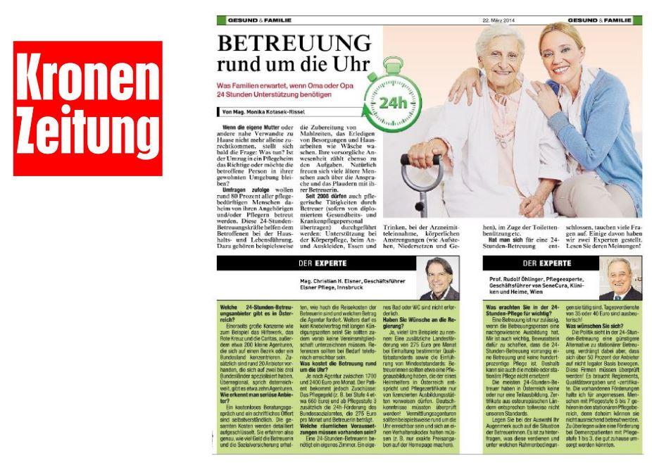 Betreuung rund um die Uhr - Artikel in der Kronen Zeitung