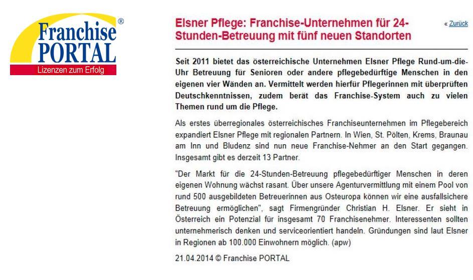 Elsner Pflege: Franchise Unternehmen für 24-h-Betreuung mit 5 neuen Standorten - Artikel im Franchise-Portal