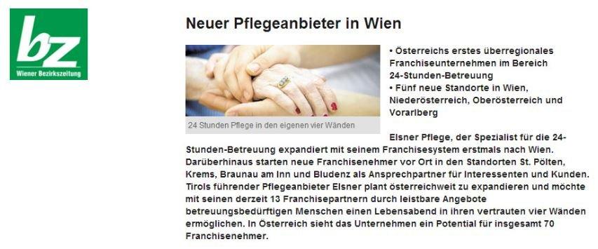 Neuer Pflegeanbieter in Wien - Artikel in der Wiener Bezirkszeitung