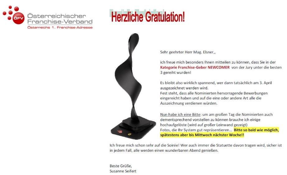 Gratulationsschreiben des Österreichischen Franchise-Verbands: Elsner Pflege unter den besten 3 Platzierungen in der Kategorie Newcomer