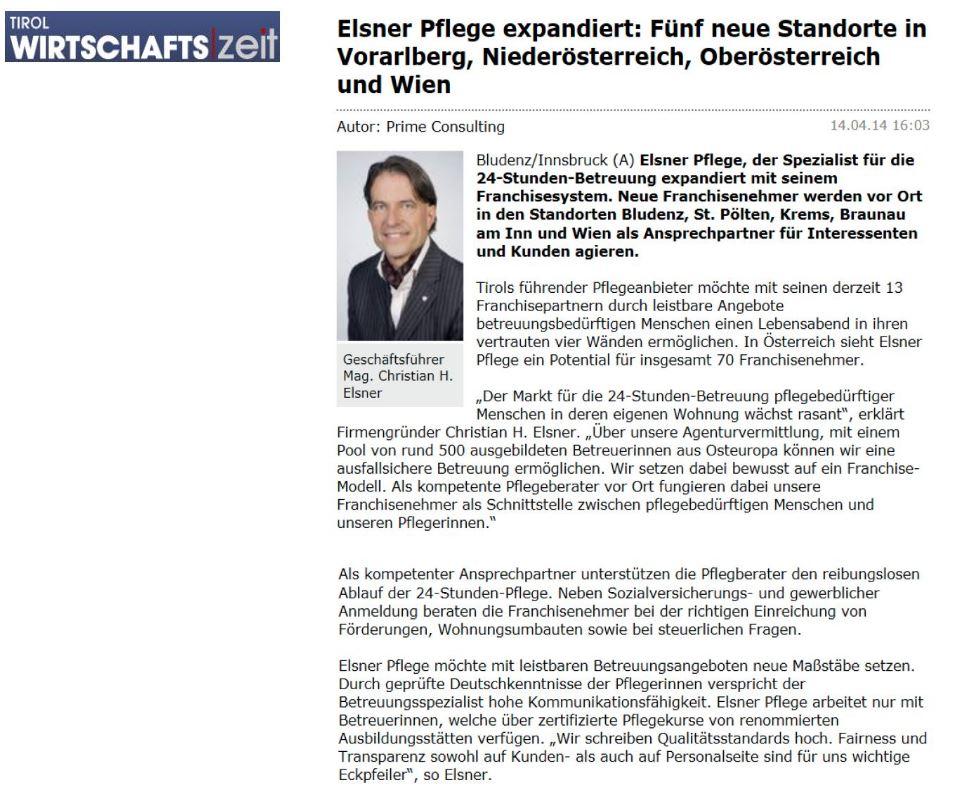 Elsner Pflege expandiert: 5 neue Standorte - Artikel in der Tiroler Wirtschaftszeit