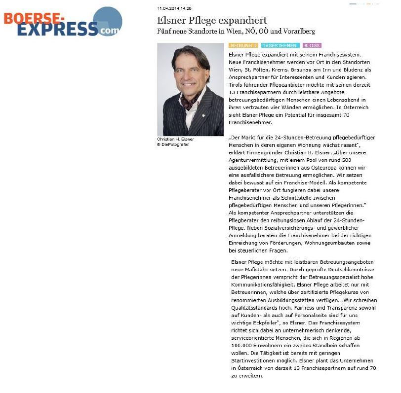 Elsner Pflege expandiert - Artikel auf boerseexpress.com