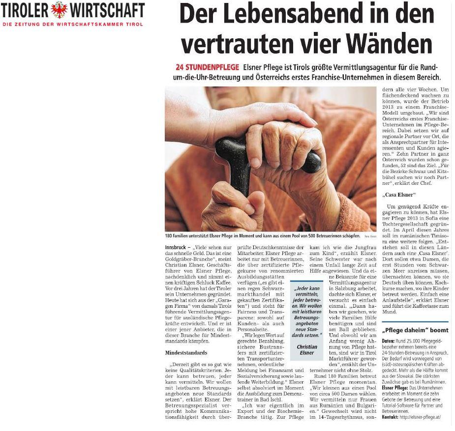 Der Lebensabend in den vertrauten 4 Wänden - Artikel in der Tiroler Wirtschaft
