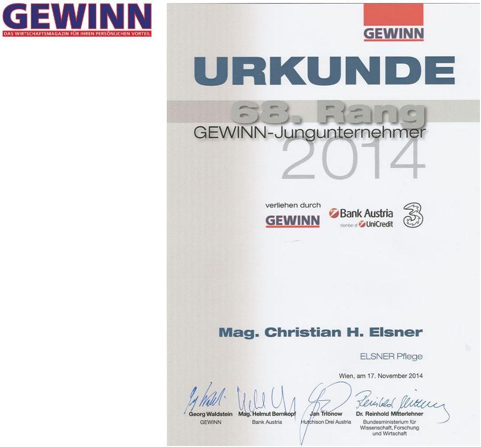 Urkunde Rang 68 Gewinn Jungunternehmer 2014 Mag. Christian H. Elsner