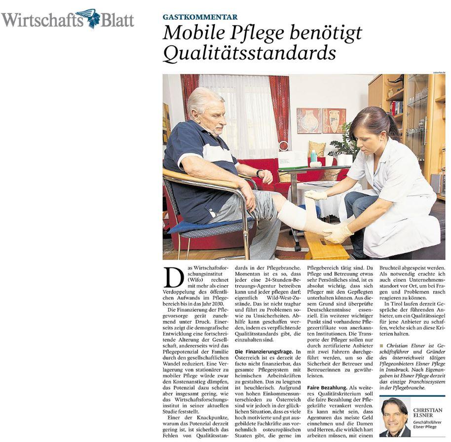 Mobile Pflege benötigt Qualitätsstandards - Artikel im Wirtschaftsblatt