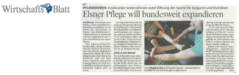 Elsner Pflege will bundesweit expandieren - Artikel im Wirtschaftsblatt
