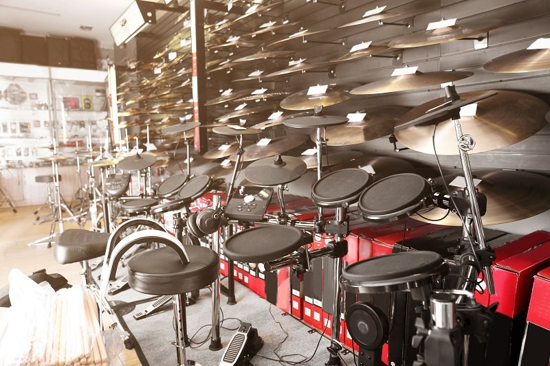 Drums accessories in music shop