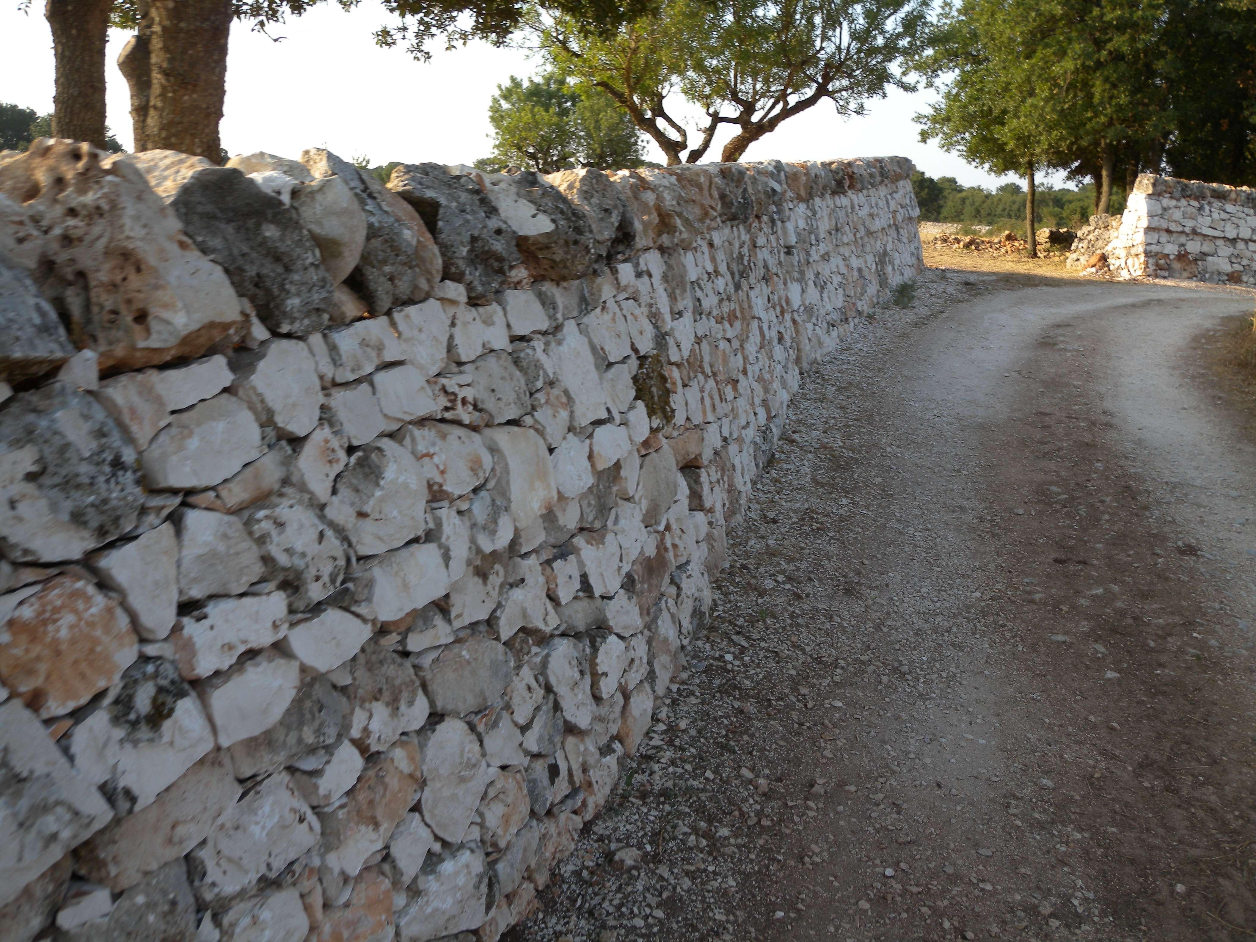 strada delimitata da muretto in pietra