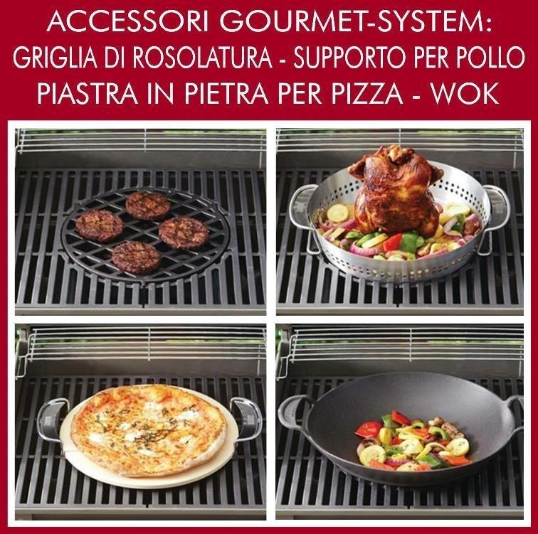 Gourmet System weber griglia di rosolatura, supporto per pollo, piastra pizza, wok