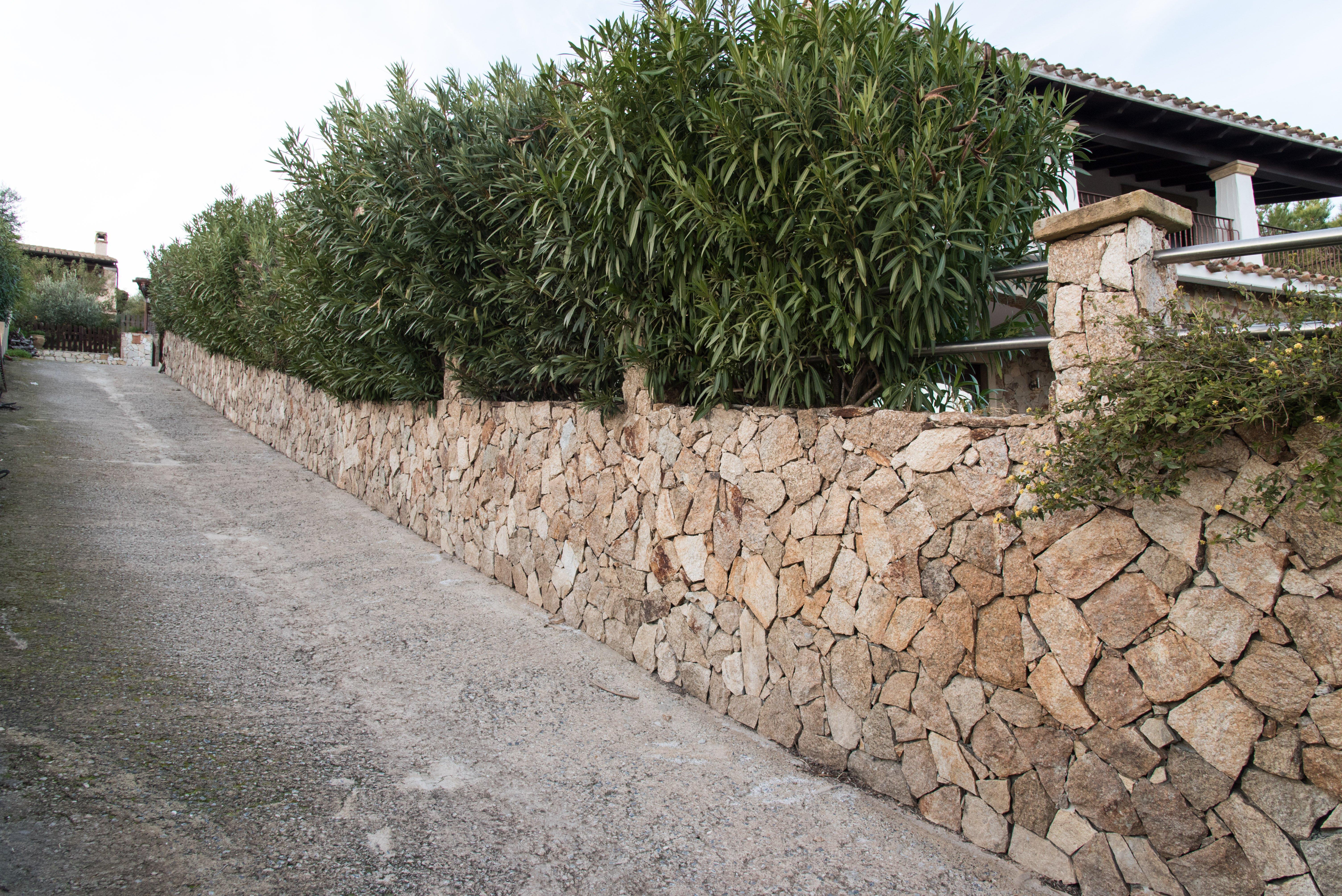 lavori esterni in pietra per un muretto