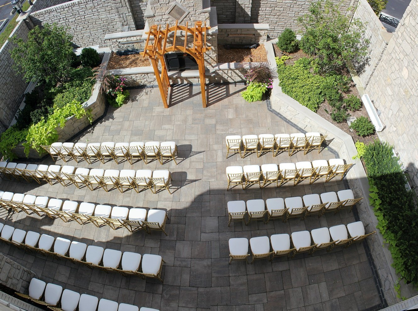 Outside Garden Wedding Ceremony Tuscany Falls Banquets Mokena