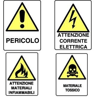 cartelli con descrizione sotto pittogramma
