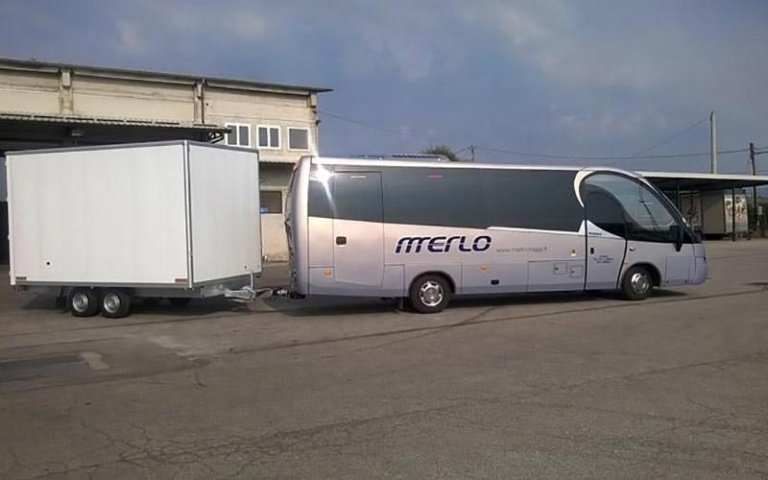 Minibus with bike rack trolley