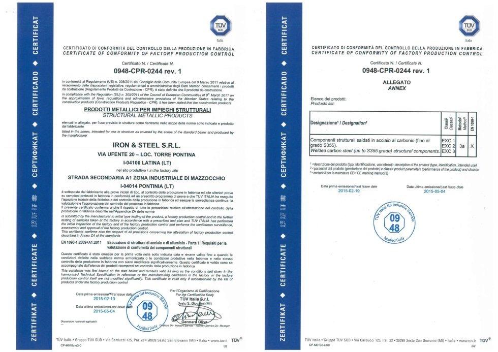 Certificato Prodotti metallici per impieghi strutturali