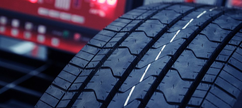 Close view of tyre tread