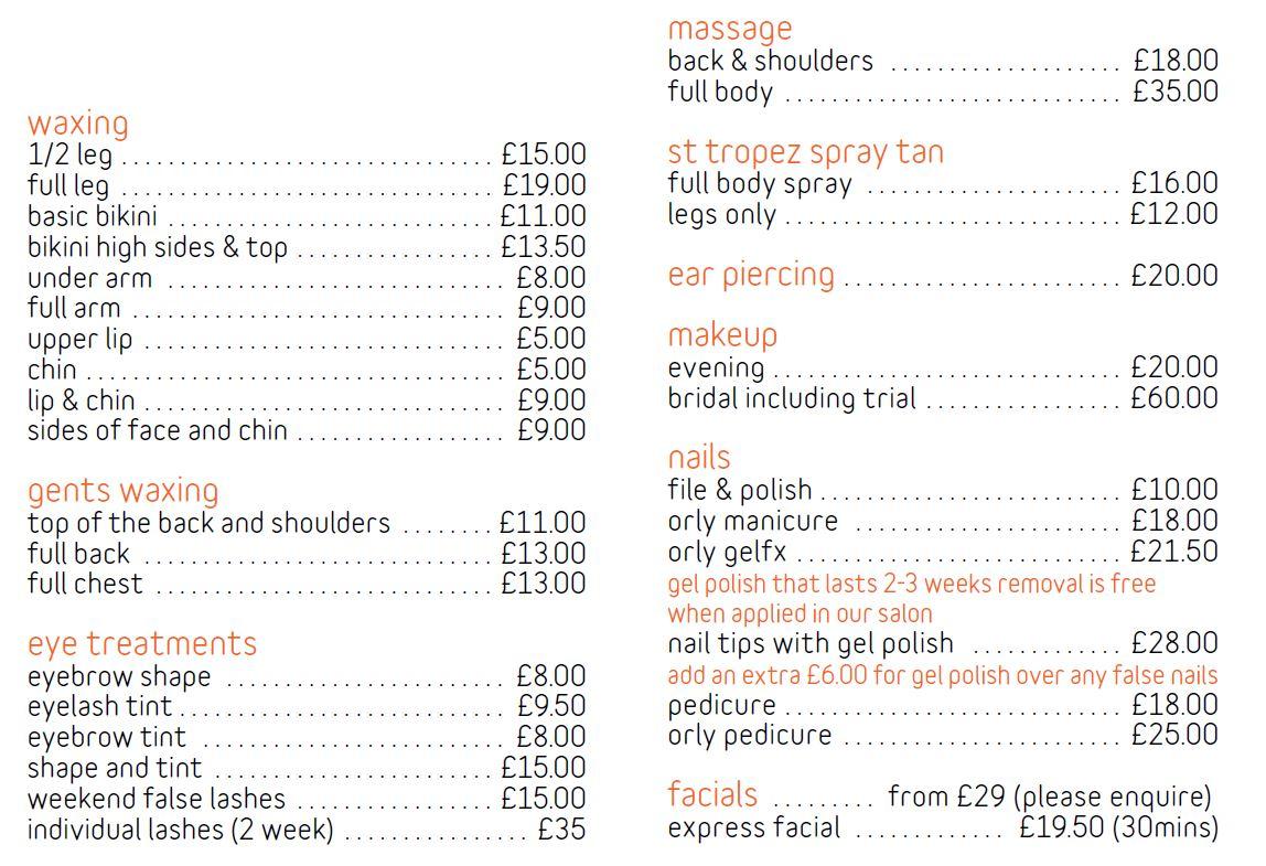 Skin Deep Price List