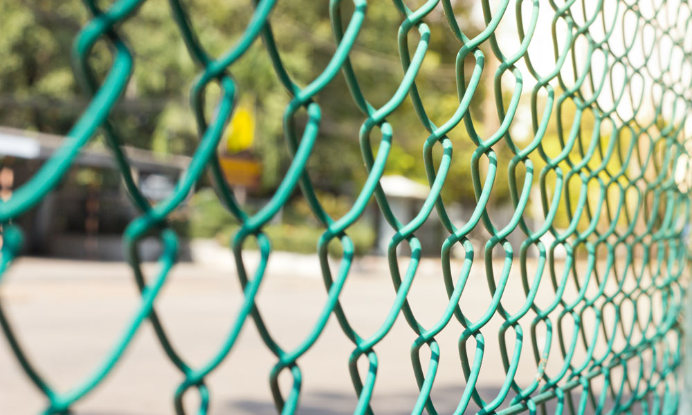 A chainlink fence in close up