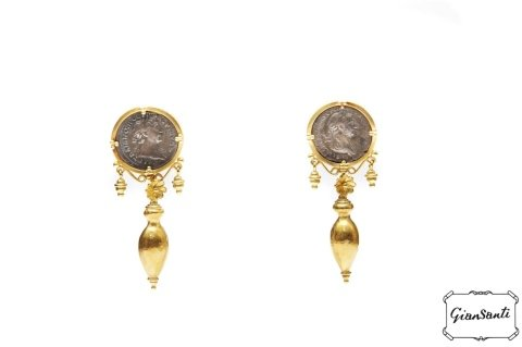 Orecchini in oro giallo acera persa e moneta bronzo