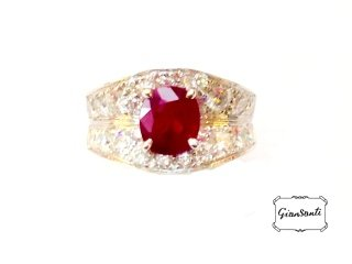 Anello in oro bianco, rubino e diamanti