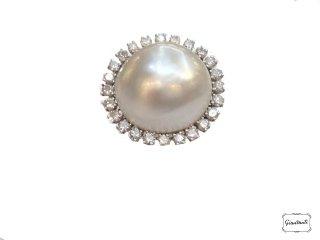 Anello oro bianco, brillanti e perla australiana