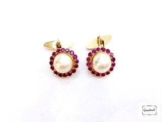 Gemelli in oro, perle e rubini