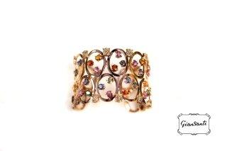 Bracciale in oro rosa, brillanti e zaffiri multicolours