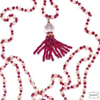 Collana perle, rubini, oro giallo e cristallo di rocca