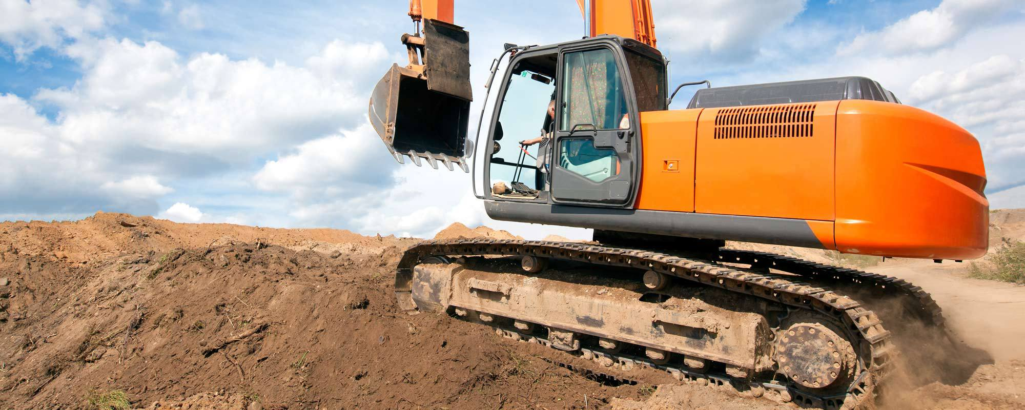 An working excavator
