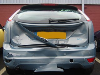 Damaged rear of a car
