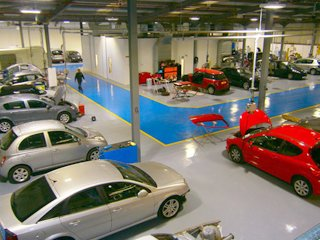 Interior of a very large garage
