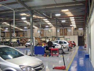 Interior of a large garage