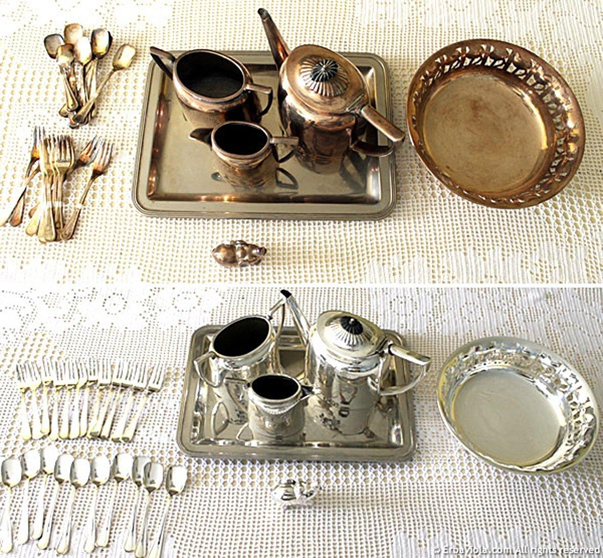 degli ogetti in argento lucidati: vista prima e dopo