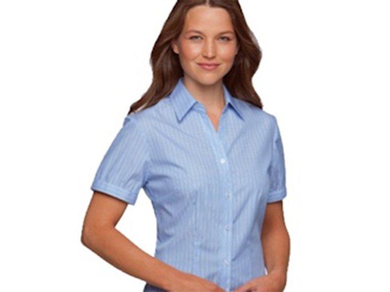 ballaratembroidery Shadow Stripe Blue Shirt