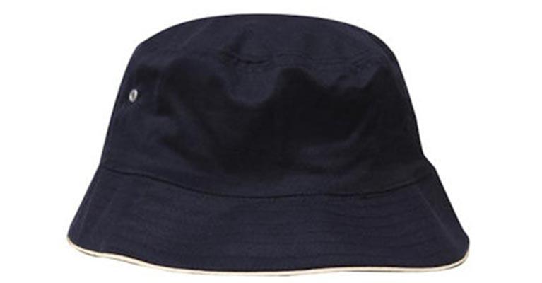 Ballarat Embroidery caps navy white sports bucket